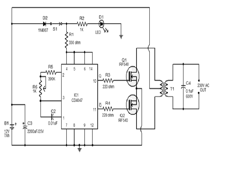 simple 100w inverter circuit